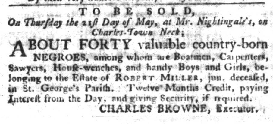 May 5 - South-Carolina Gazette and Country Journal Supplement Slavery 2