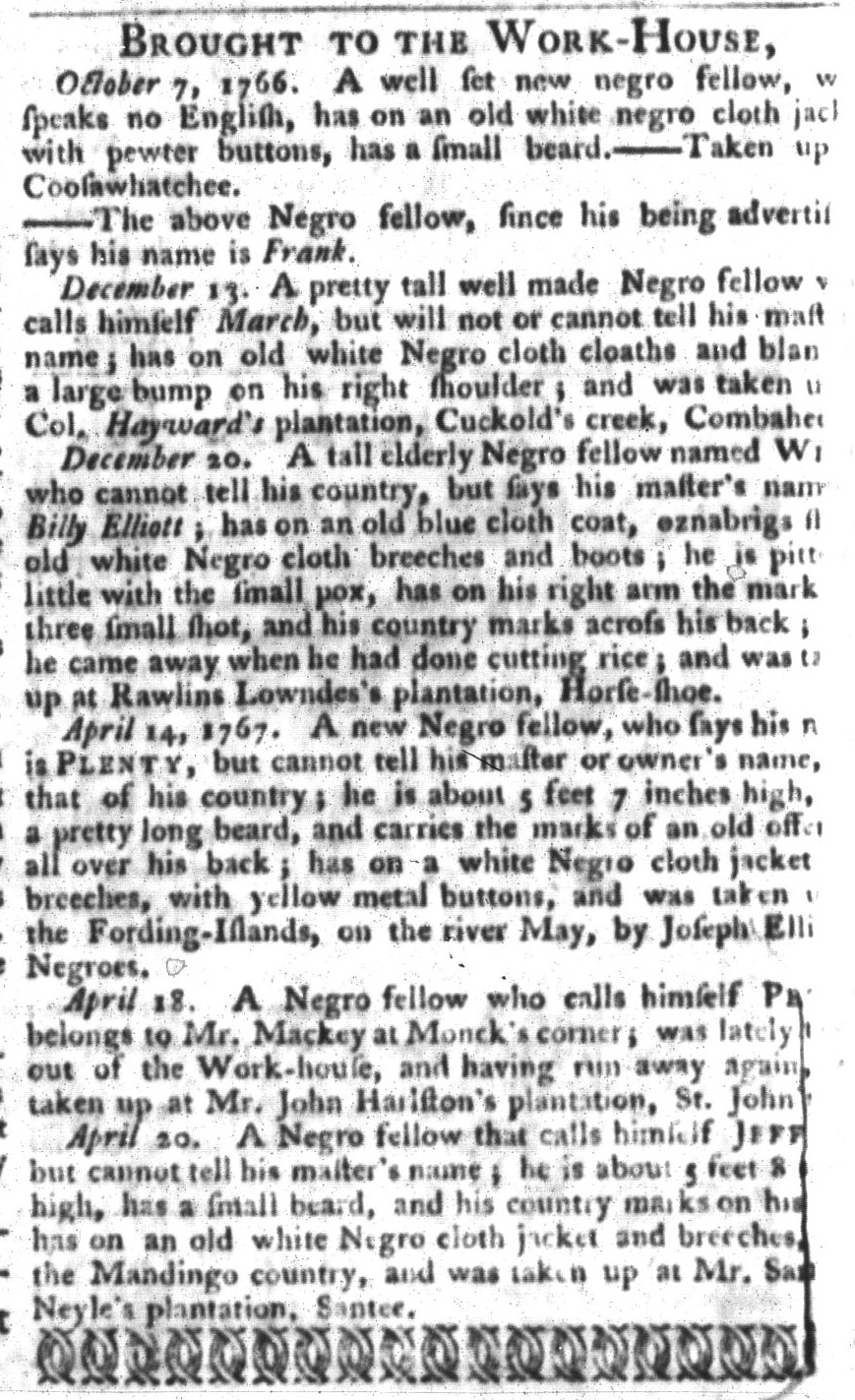 May 5 - South-Carolina Gazette and Country Journal Supplement Slavery 7