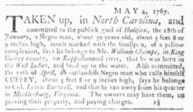 May 7 - Virginia Gazette Slavery 4