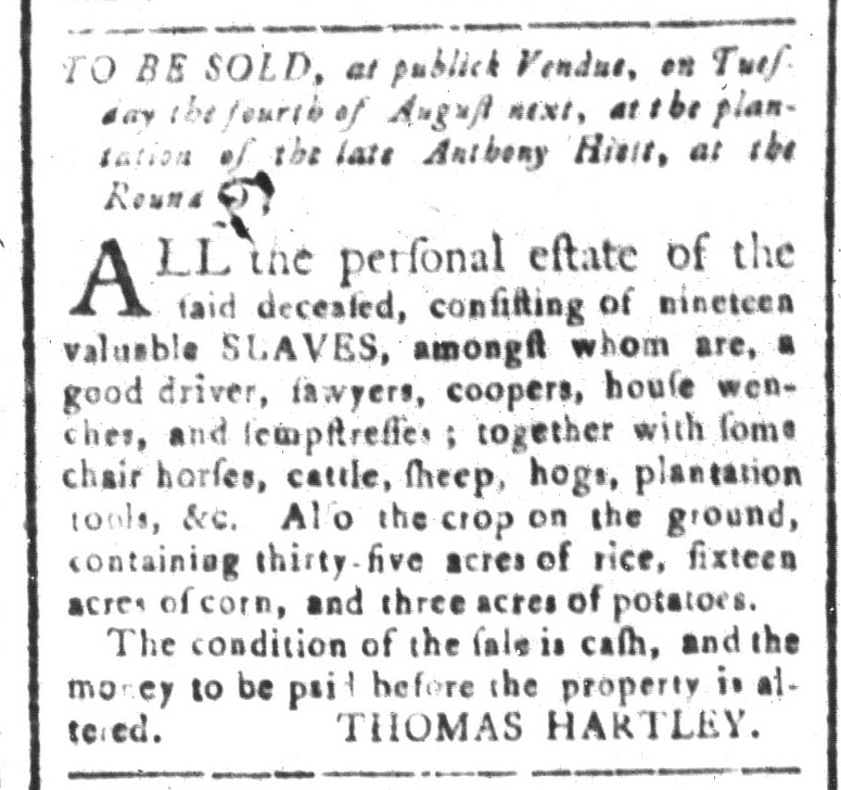 Jul 10 - South-Carolina and American General Gazette Slavery 5