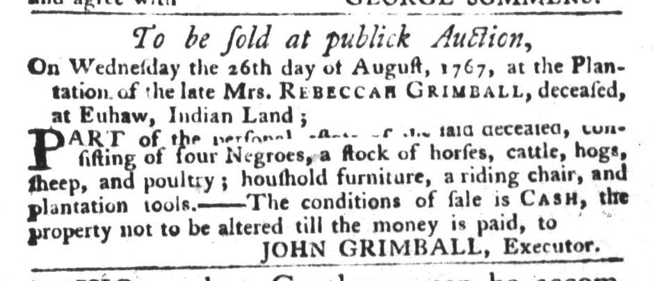 Jul 21 - South-Carolina Gazette and Country Journal Slavery 2