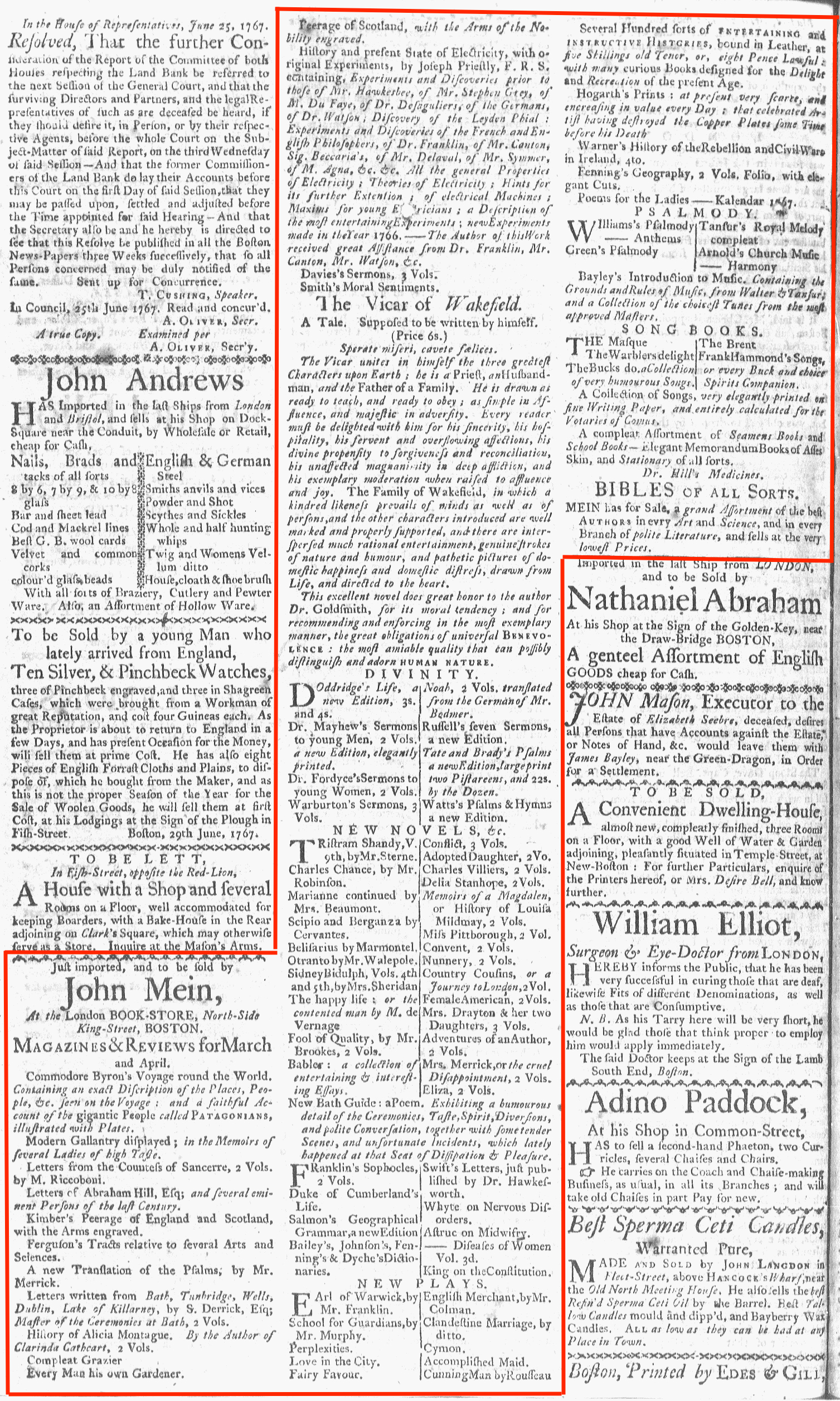 Jul 6 - 7:6:1767 Boston-Gazette