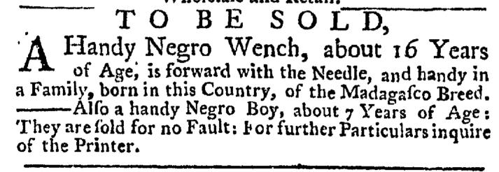 Jul 9 - New-York Gazette Weekly Post Boy Slavery 1
