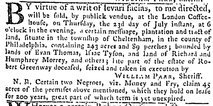Jul 9 - Pennsylvania Gazette Slavery 2