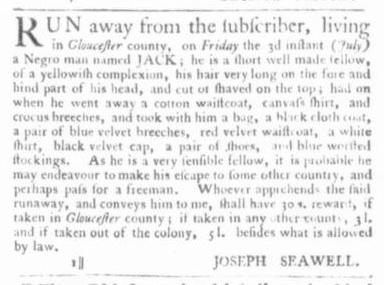 Jul 9 - Virginia Gazette Slavery 2