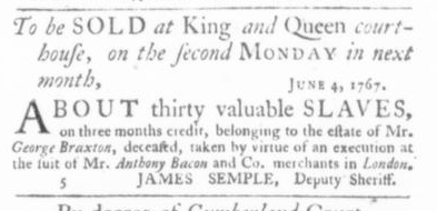 Jun 11 - Virginia Gazette Slavery 1
