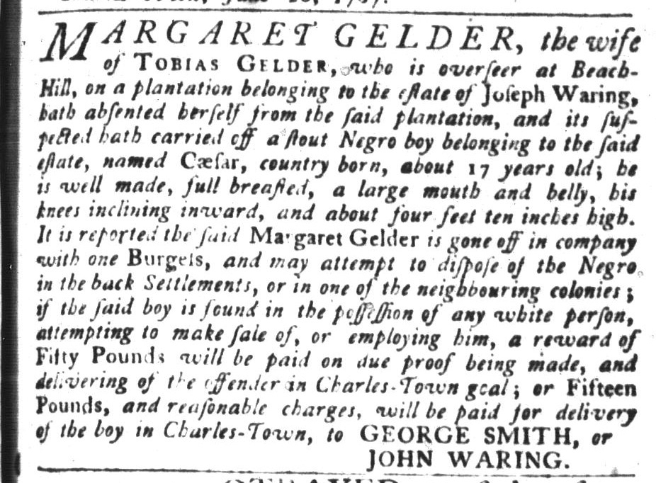 Jun 30 - South-Carolina Gazette and Country Journal Slavery 1
