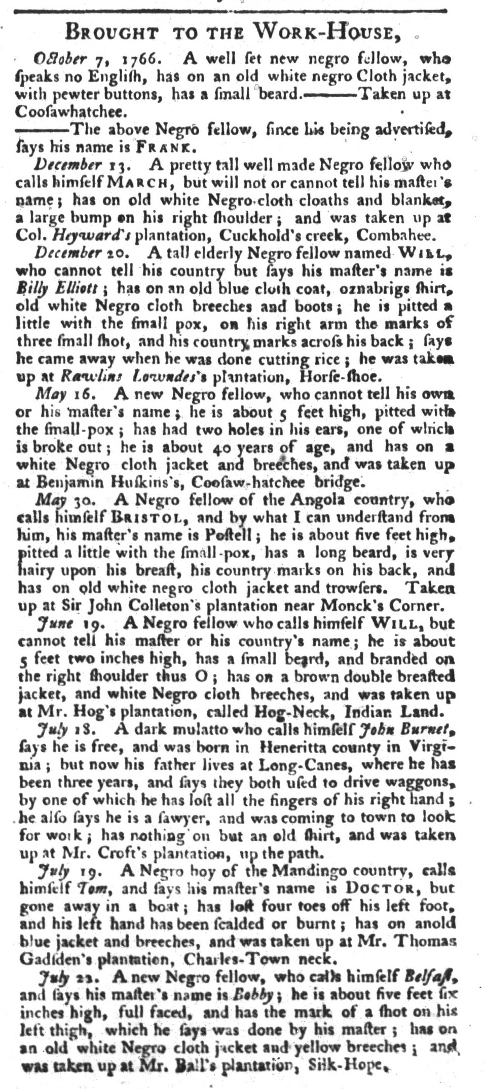 Aug 4 - South-Carolina Gazette and Country Journal Supplement Slavery 10