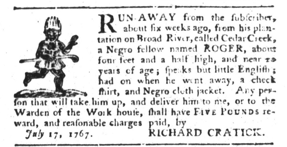 Aug 4 - South-Carolina Gazette and Country Journal Supplement Slavery 7