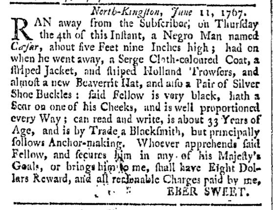 Jul 25 - Providence Gazette Slavery 1