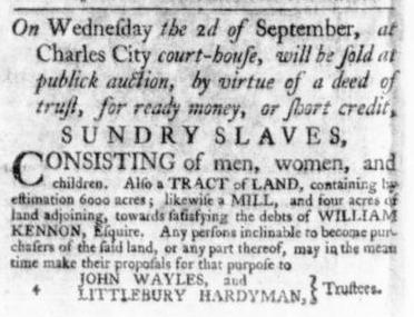 Aug 13 - Virginia Gazette Slavery 1