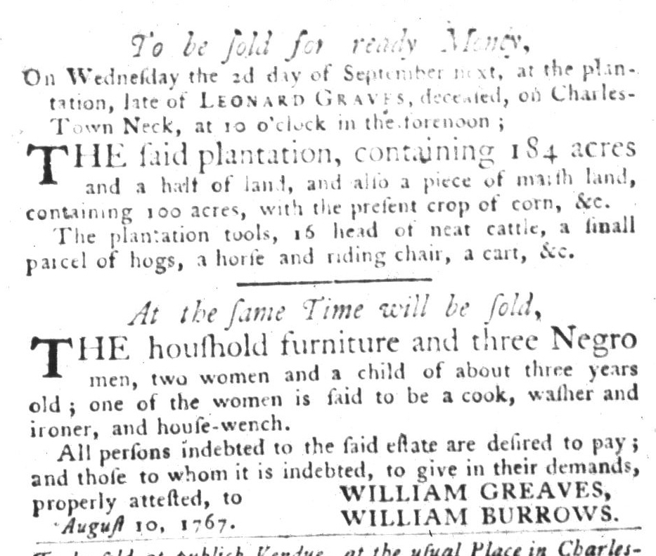 Aug 25 - South-Carolina Gazette and Country Journal Slavery 1
