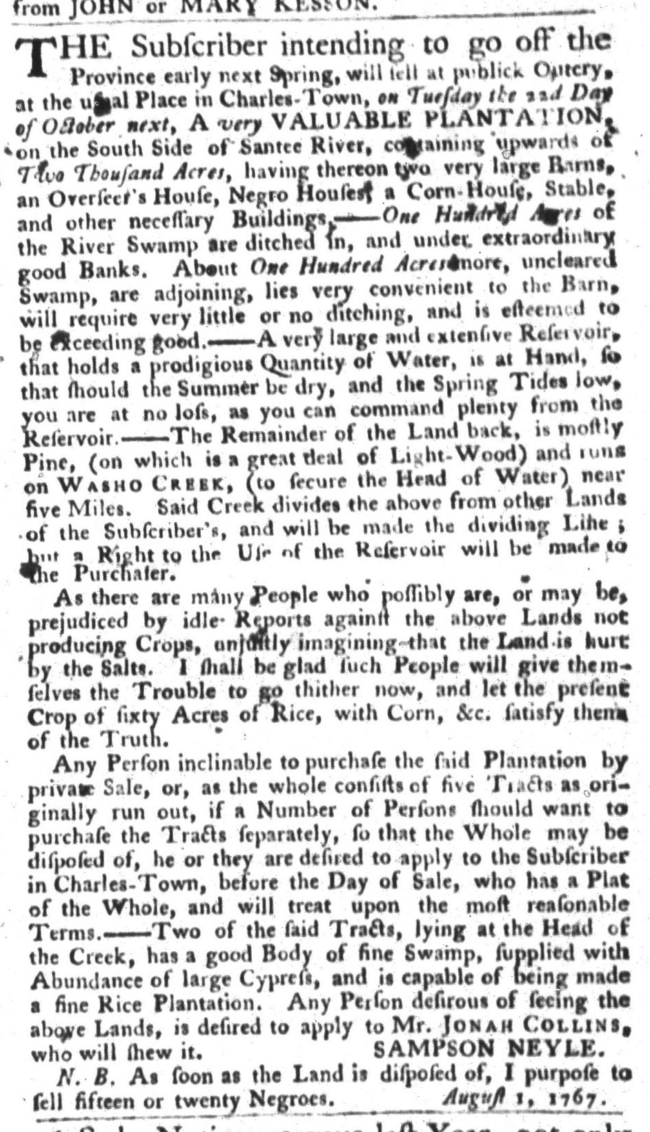 Aug 25 - South-Carolina Gazette and Country Journal Slavery 4