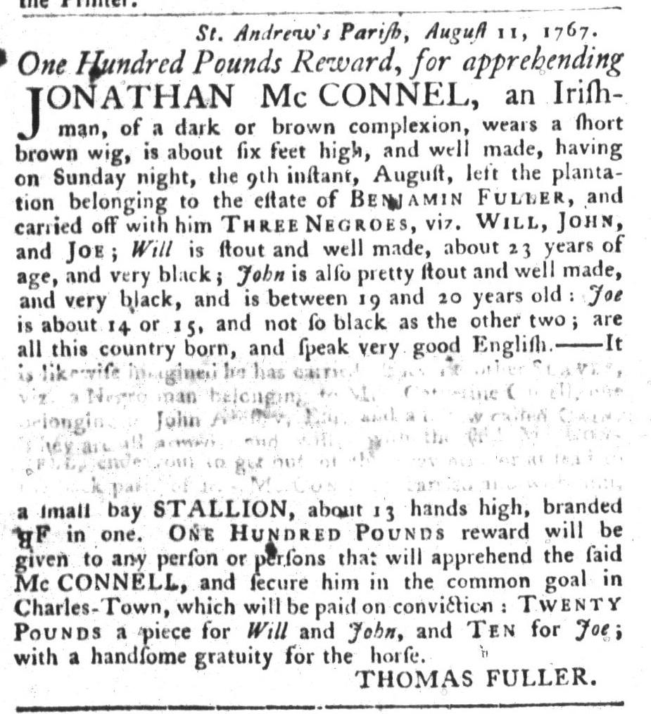 Aug 25 - South-Carolina Gazette and Country Journal Slavery 5
