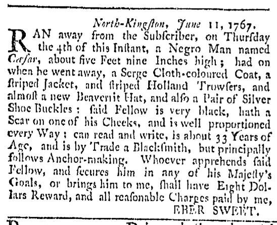 Aug 8 - Providence Gazette Slavery 1