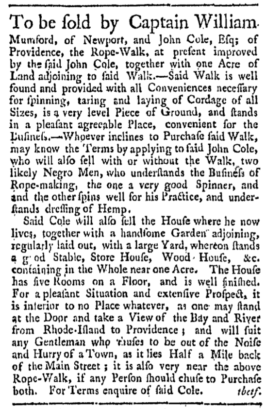 Sep 12 - Providence Gazette Slavery 1