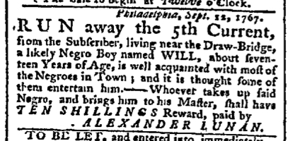 Sep 14 - Pennsylvania Chronicle Slavery 1
