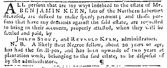 Sep 17 - Pennsylvania Gazette Slavery 1
