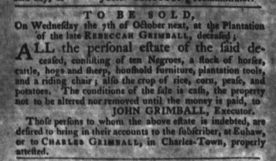Sep 22 - South-Carolina Gazette and Country Journal Slavery 8