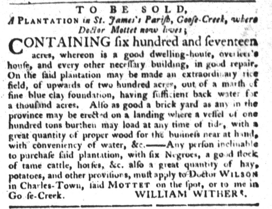 Sep 29 - South-Carolina Gazette and Country Journal Supplement Slavery 1