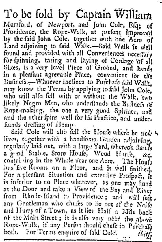 Sep 5 - Providence Gazette Slavery 1