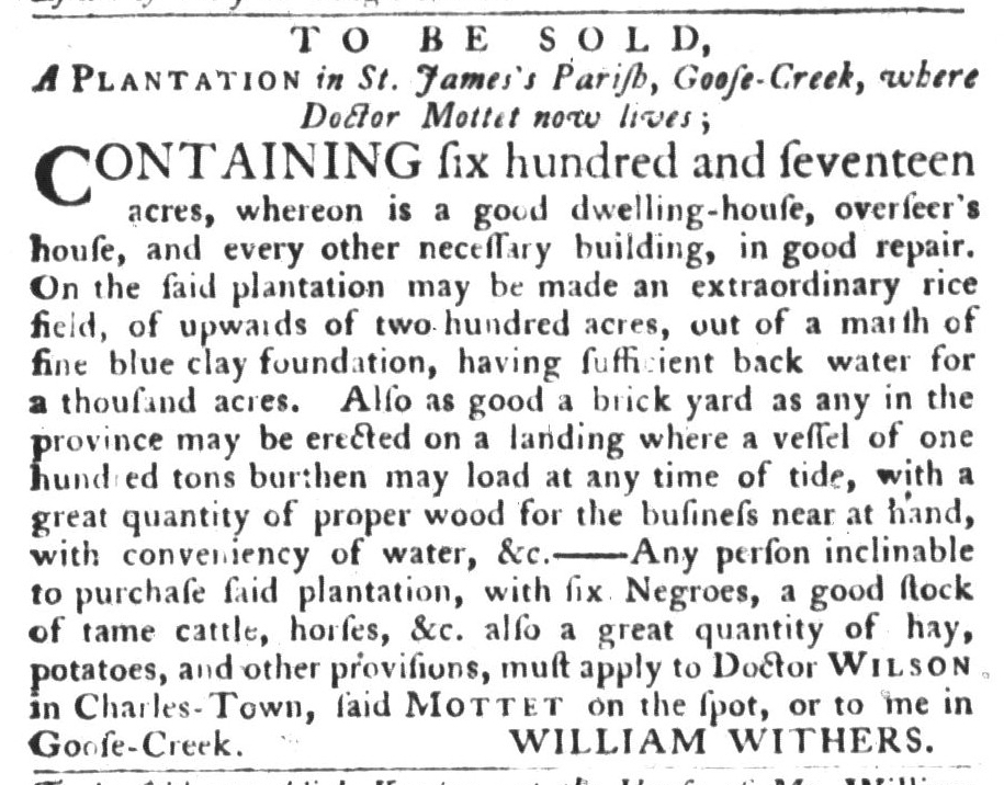 Sep 8 - South-Carolina Gazette and Country Journal Slavery 1