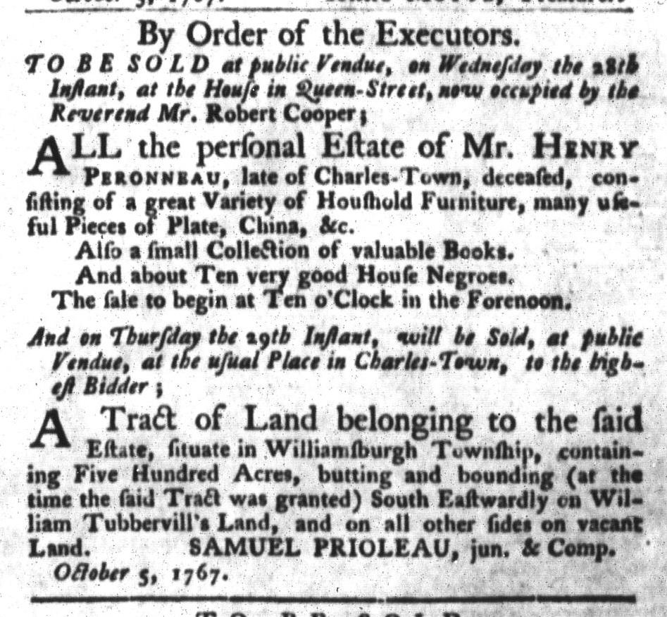 Oct 13 - South-Carolina Gazette and Country Journal Slavery 3