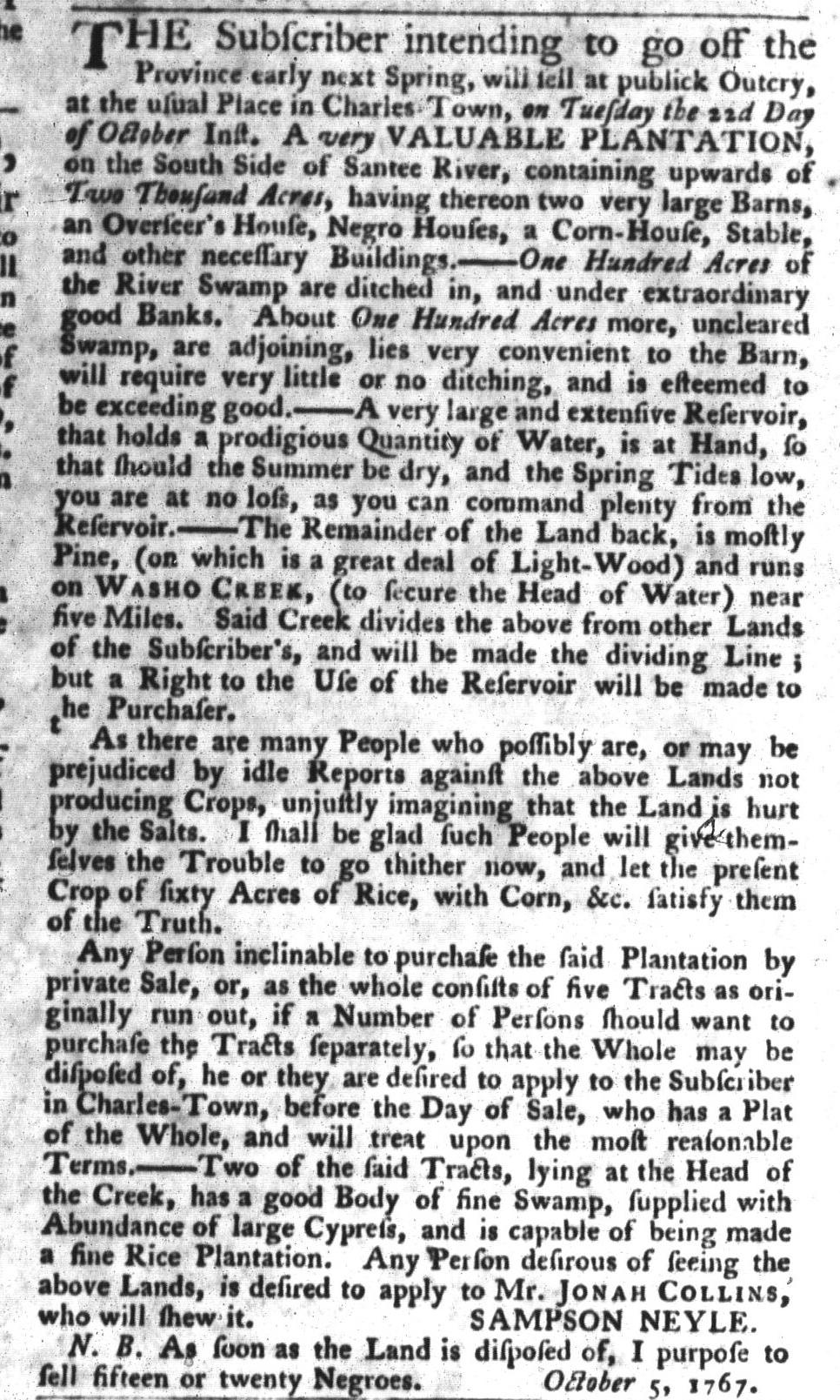 Oct 13 - South-Carolina Gazette and Country Journal Slavery 4