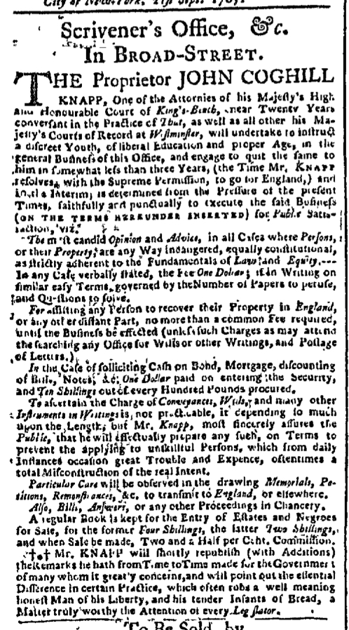 Oct 5 - New-York Gazette Slavery 2