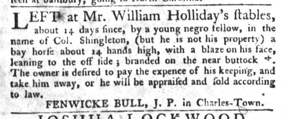 Oct 6 - South-Carolina Gazette and Country Journal Slavery 12