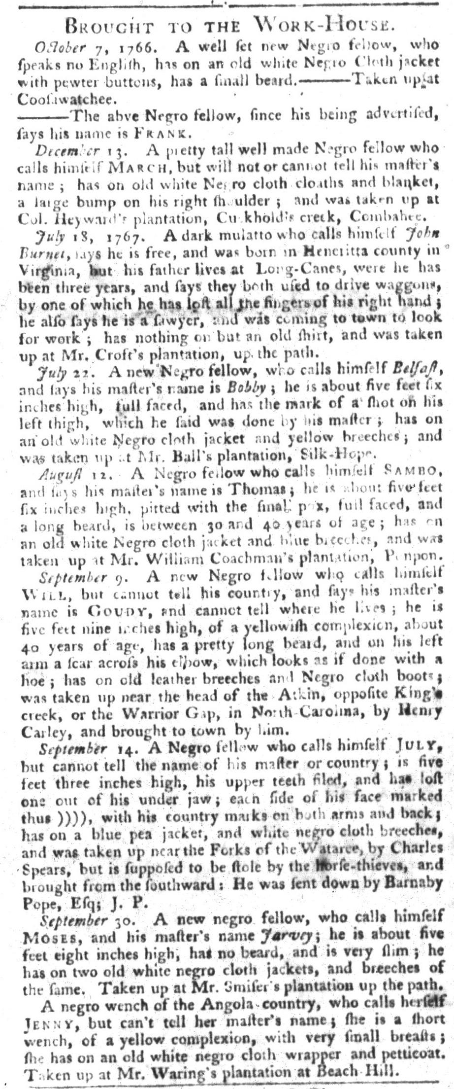 Oct 6 - South-Carolina Gazette and Country Journal Slavery 5