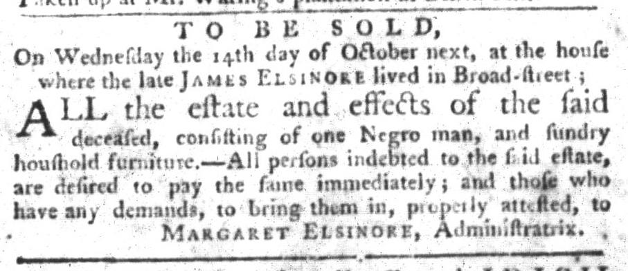Oct 6 - South-Carolina Gazette and Country Journal Slavery 6