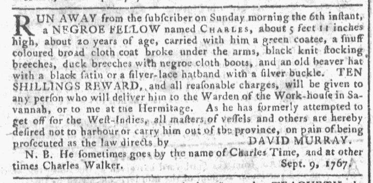 Oct 7 - Georgia Gazette Slavery 1