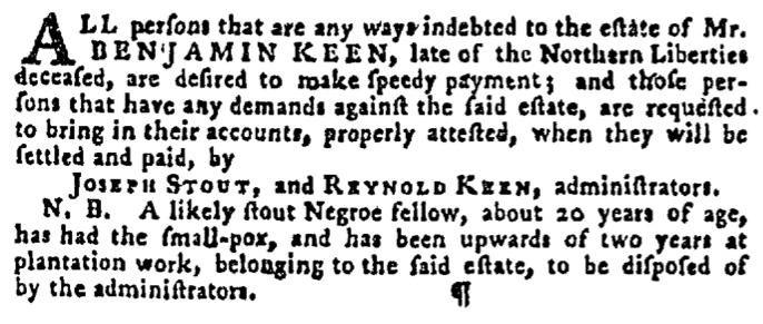 Oct 8 - Pennsylvania Gazette Supplement Slavery 2