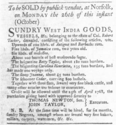 Oct 8 - Virginia Gazette Slavery 1