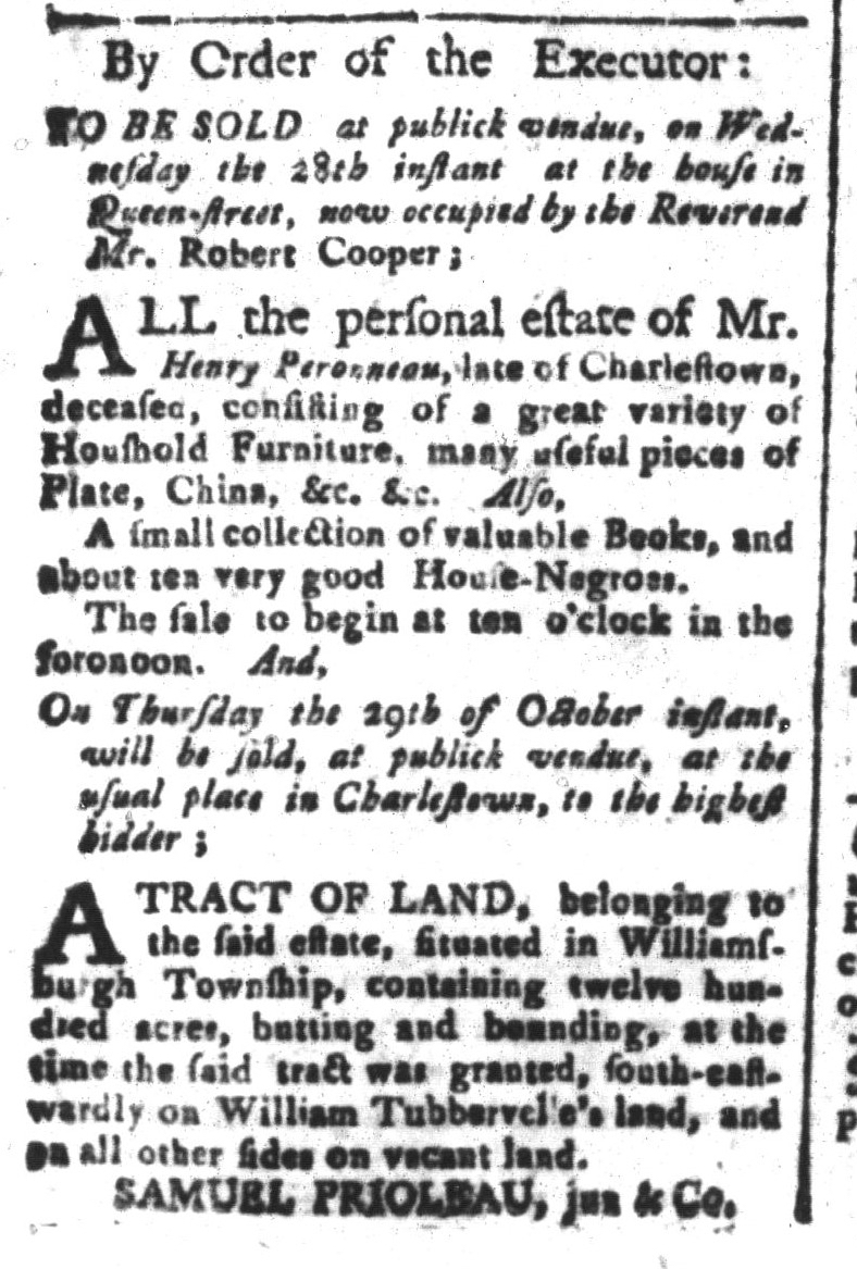 Oct 9 - South-Carolina and American General Gazette Slavery 1