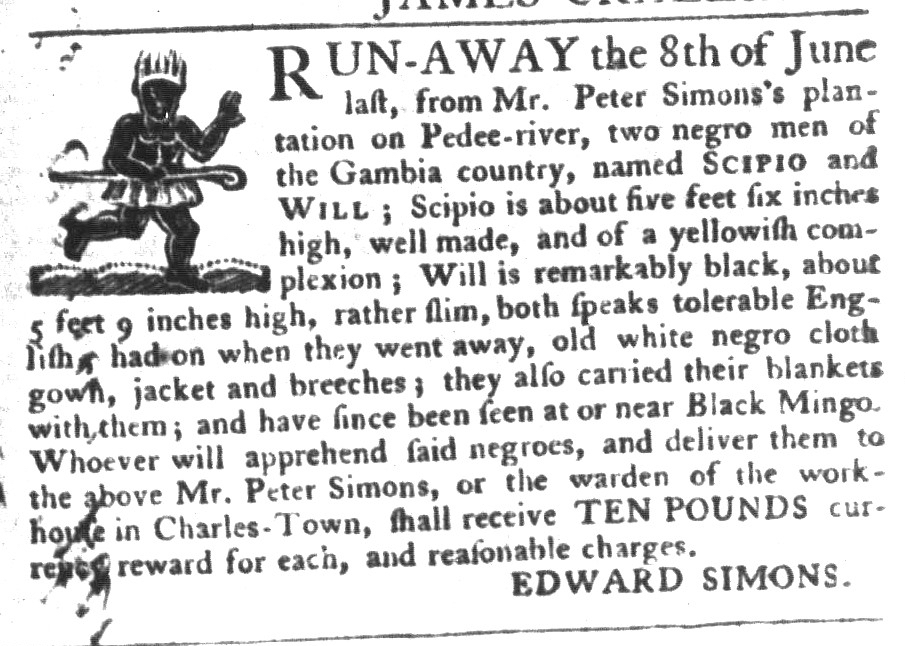 Nov 10 - South-Carolina Gazette and Country Journal Slavery 11