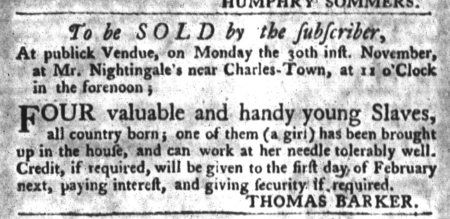 Nov 10 - South-Carolina Gazette and Country Journal Slavery 3