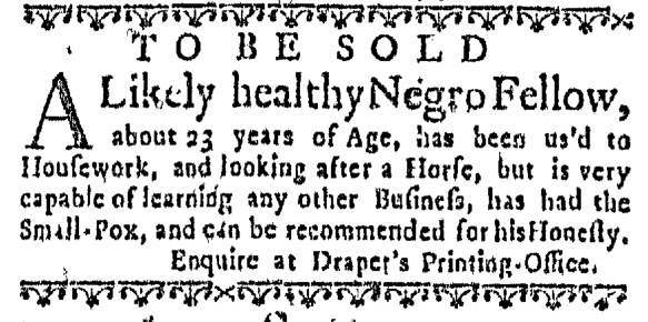 Nov 12 - Massachusetts Gazette Slavery 1