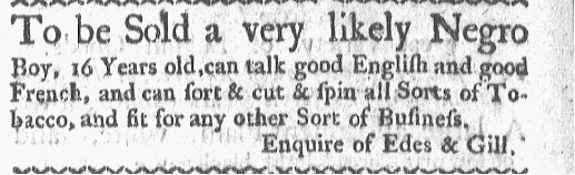 Nov 2 - Boston-Gazette Supplement Slavery 1
