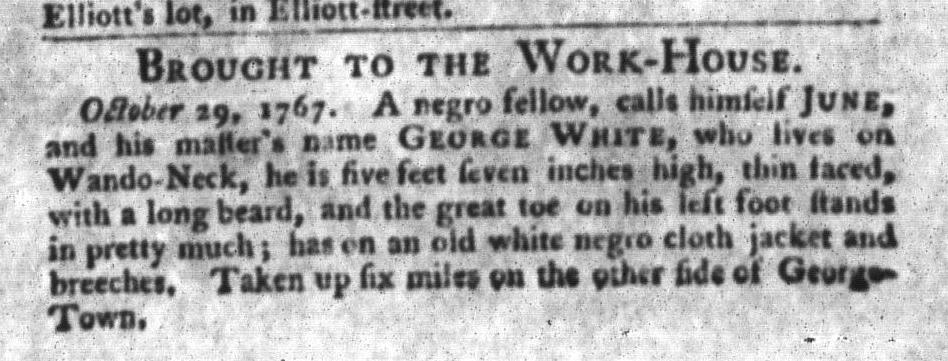 Nov 3 - South-Carolina Gazette and Country Journal Slavery 6