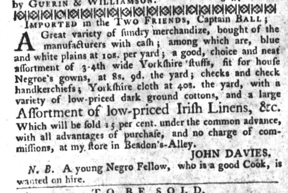 Nov 3 - South-Carolina Gazette and Country Journal Supplement Slavery 1