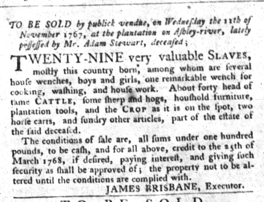 Nov 3 - South-Carolina Gazette and Country Journal Supplement Slavery 4