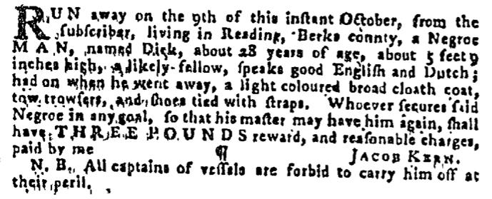 Nov 5 - Pennsylvania Gazette Supplement Slavery 1