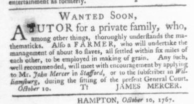 Oct 15 - Virginia Gazette Slavery 1