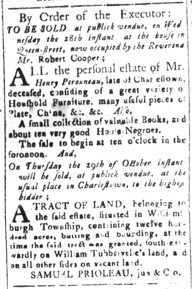 Oct 16 - South-Carolina and American General Gazette Slavery 5