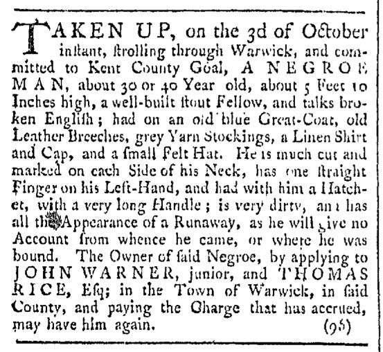 Oct 17 - Providence Gazette Slavery 1