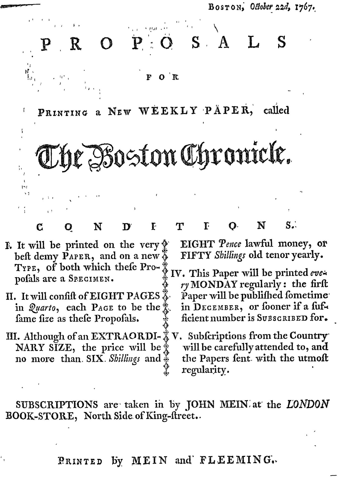 Oct 22 - 10:22:1767 Page 1 Boston Chronicle