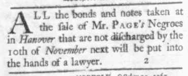 Oct 22 - Virginia Gazette Slavery 1