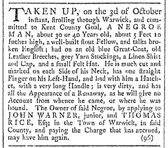 Oct 24 - Providence Gazette Slavery 1